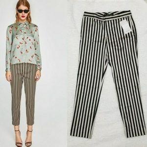 Zara Pants - *sold*Zara Small Black Khaki Striped Cropped Pants